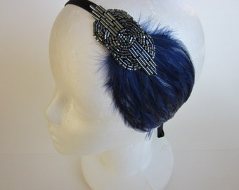 1920s Great Gatsby Headband, Blue feather headpiece Art Deco fascinator, Royal blue feather Pewter gunmetal beaded stretch elastic velvet