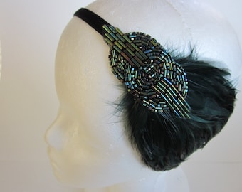 Green 1920s headband, green feather headpiece, beaded fascinator, flapper, Art Deco beaded headband, great gatsby headpiece, green feather