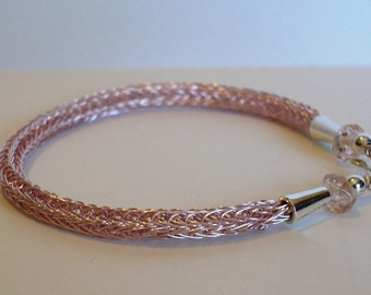 Light Pink Viking weave bracelet with Silver cone ends- Handmade-can be made in any length - Gift for her- Holiday gifts- Winter Finds-Gift
