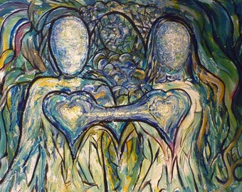 Two Hearts One original Abstract Painting by Joel A Conner