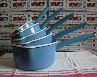 French vintage enamel pans set of 5 blue ones, farmhouse kitchen decor, rustic decor.