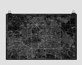 Berlin City Map  Art Print from 1909 Vintage Map Black and White - CarambasDigital