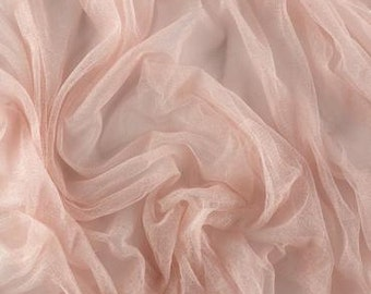 100% French silk tulle -pale pink - priced per half yard - 1/2 yard