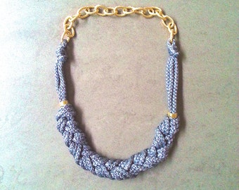 Grey sailor knot necklace with gold chain
