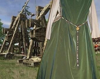 FREE SHIP Renaissance Medieval SCA Garb Costume Olive Sage ovr Cream Sdless Surcote & Kirtle 2pc lxl