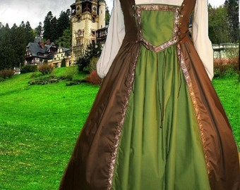 FREE SHIP Renaissance Medieval Gown SCA Garb 2pc Bi-Lacing Bodice Drawstring Choco Olive lxl