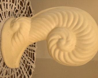 Vintage Ceramic Nautilus Shaped Buttery Creamy Yellow Vase