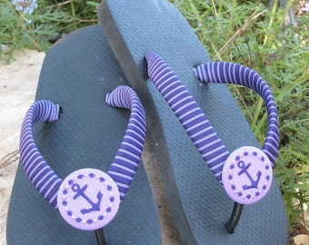SUMMER FLIP FLOPS! Embroidered Designs, Personalize, Ribbon Wrapped Straps, Grosgrain Covered Buttons, Custom Colors, Comfy Flats or Wedge