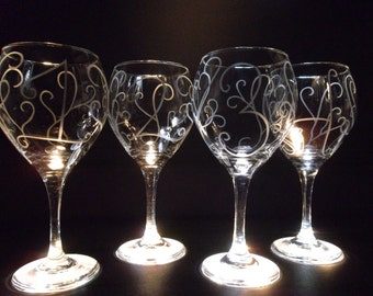 Wine glasses etched with numbers and scrolling. Set of 4. Wedding gift, goblet, custom wine glasses.
