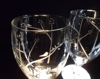Wedding favor etched water glasses. Wedding glasses, custom wedding glassware. Set of 50.