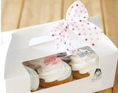 White Cupcake Boxes Rectangle Cake Box with Window Portable Cupcake Boxes avaliable for 6 Little Cupcake