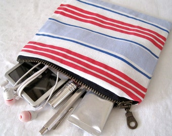 Handmade deckchair stripe cotton pouch