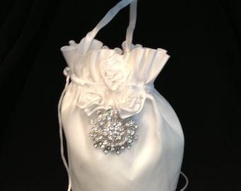 Satin Wedding Money Bag, Bridal Purse,  Rhinestone Round Embellishment
