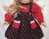 American Girl Doll Black N Red Print Skirt N Blouse