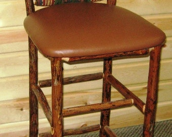 Hickory Log Bar stool With Upholstered Seat and Back