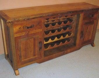 BARNWOOD BUFFET TABLE With Wine Rack