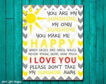 You Are My Sunshine Wall Art. You Are My Sunshine Lyrics. My Only Sunshine. Yellow and Gray. Playroom Decor. Girls Wall Art. Teen Room Art.