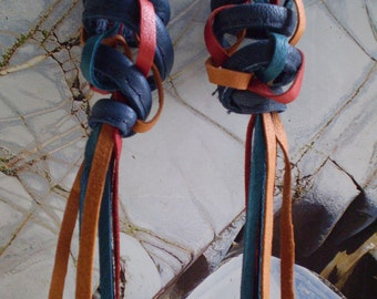 Leather Earrings ...Multi coloured recycled leather fo Autumn.