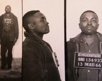Original 1966 Chicago Police Black African American Mugshot Photograph - Free Shipping