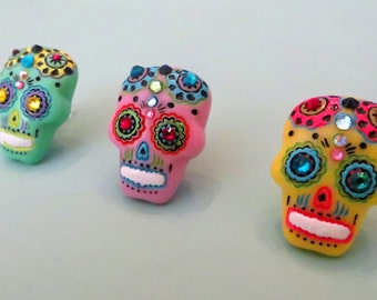 Choose your color-- Sugar Skull cell phone charm, dust plug charm, Day of the Dead charm