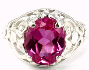 Created Pink Sapphire, 925 Sterling Silver Ring, SR004