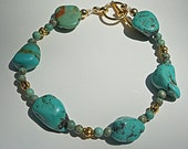 Genuine Arizona Turquoise Nugget & Round Turquoise Gemstone Bracelet in Vermeil, Single or Stackable Bracelet
