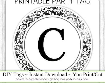 LETTER C Monogram, Damask Party Tag, Monogram Party Tag, Black & White Monogram, DIY Cupcake Topper, You Print, You Cut, Instant Download