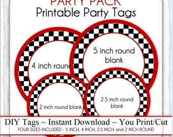 PARTY PACK - Race Car Party, Black & White Checkered Party Printable Tags, Blank Race Car Tags - FOUR sizes