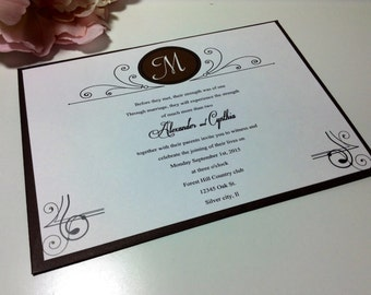Wedding Invitations, Sale 50 Vintage monogram   includes rsvp, reception cards and envelopes available in many colors