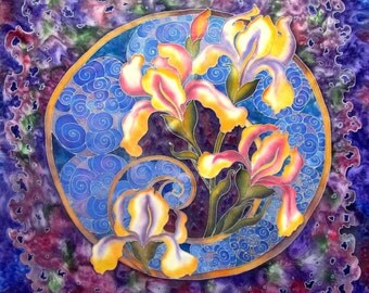Batik shawl ''Mystical irises'' hand-painted on silk. Hand painted silk flowers scarf. Gift for her. Made to order.