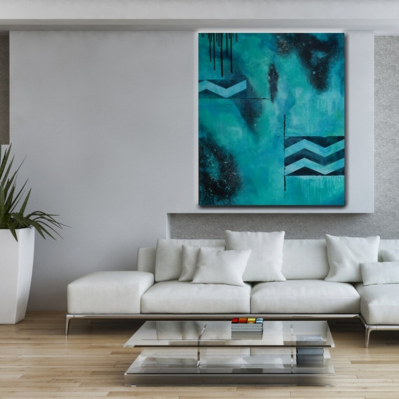 Floating Chevrons - 48x36 - HUGE Abstract Acrylic Painting on Canvas - Turquoise Black -  Contemporary Wall Art