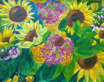 Original watercolor painting sunflowers