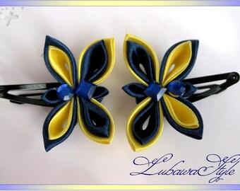 Kanzashi hair clips: Yellow-blue butterfly