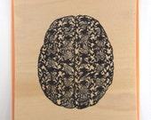 Wood Veneer Gocco Print - Art Print - Brain on Brain Damask