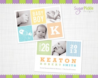 Birth Announcement,  Boy Birth announcement, 5x7, baby announcement.