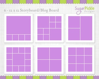 12x12 Storyboard Template, 2 sets, Digital Collage, Blog Boards for Photographers, INSTANT DOWNLOAD