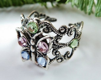 Ring with butterfly and crystals, summer ring, silver ring, rhinestones ring, giftidea girls, filigree ring