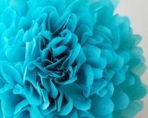 1 turquoise tissue paper pom - aqua tissue pom pom - turquoise decoration - aqua decoration