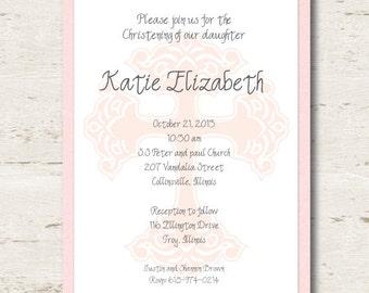 Girl Baptism Christening Pink Cross Invitation