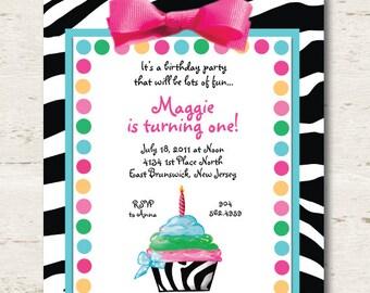 Girls Zebra First Birthday Invitation