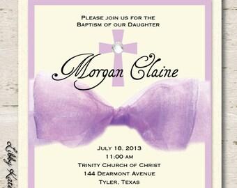 Girl Baptism Invitation Christening Purple Ribbon