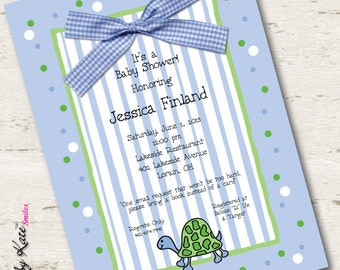 Boy Baby Shower Invitation Turtle Baby Shower Invitation Blue and Green