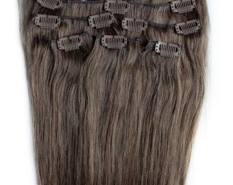 22 inches 7pcs Clip In Human Hair Extensions 8 Ash Brown