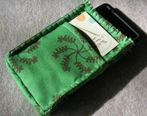 iPod Classic Case, Credit Card Holder, Clutch, Purse, Phone Case, Green Flowery With Brown Edge Stitching