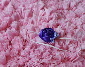 Satin rolled rose headband newborn with bow