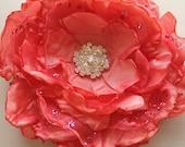 Coral Hair Flower, Bridal Hair Fascinator, Hair Clip with Rhinestone Center