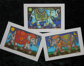 Set of 3 handpainted silk cards