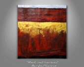 """Modern Abstract painting - Red, red horizon - 17.7"""" (45cm) x 21.5"""" (55cm) - Acrylic painting - Carlos Pun"""