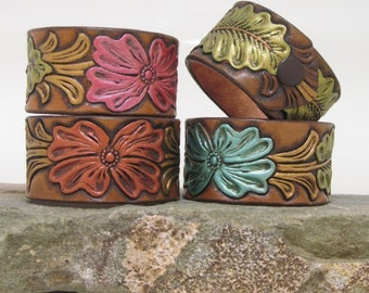 leather bracelet, leather cuff, Hand-painted Embossed Flowers, Women's Cuff, Leather Turquoise Bracelet,