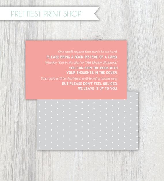 printable invitation enclosure baby shower polkadot bring a book